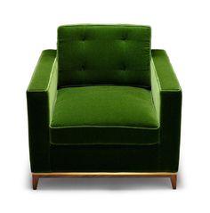 "poltrona ""Minx Chair"" (79x80x95 legno di noce e tessuto mohair imbottito)  Amy Somerville."