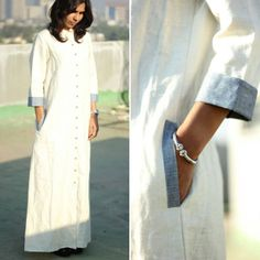 #onsale #organic A floor length organic linen dress that is elegant, completely safe for your skin, and is ethically made with absolute integrity. And it's on sale! Originally priced at 5500 INR, it's now for sale at 3400 INR. (51 $) Size : Medium Free shipping in India. An additional 200 INR for worldwide shipping. #summer #sale #worldwideshipping #ecofashion #ethicalfashion  #sustainablefashion #womenswear #clothing #lifestyle #linen #longsleeve #cream #pocket #dress #bestseller…