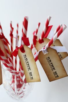 red & white paper straws with vintage tags