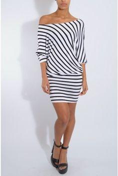 Black And White Asymmetric Stripe Dress | Rare London