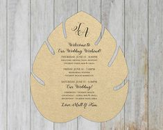 How cool is this leaf shaped wedding itinerary? Comes in different colors and font options. Perfect for guests who arrive at a destination wedding. Destination Wedding Save The Dates, Destination Wedding Inspiration, Destination Wedding Locations, Destination Wedding Invitations, Wedding Invitation Design, Custom Invitations, Wedding Stationery, Wedding Ideas, Wedding Weekend Itinerary
