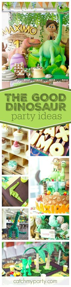 Check out this cute The Good Dinosaur birthday party. The birthday cake & treats are awesome! See more party ideas and share yours at CatchMyParty.com