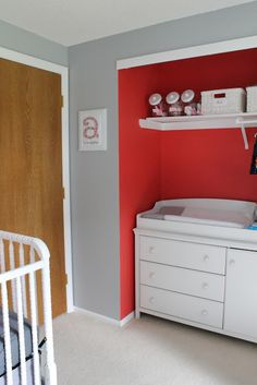 inside of closet painted with an accent color... very cool!