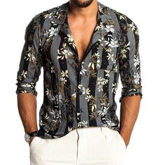 To find out about the Men's Fashion Printing Turndown Collar Blouse at Yatacity, part of our latest shirts ready to shop online today! Collar Blouse, Collar Shirts, Indian Men Fashion, Mens Fashion, Style Fashion, Concert Fashion, Floral Print Shirt, Fashion Graphic, Summer Shirts