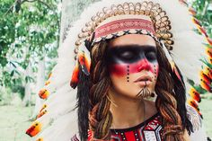 Modeling as Native American. Indian makeup. Roach