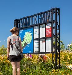 Governors Island signage. Wayfinding map with changeable inserts