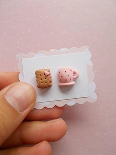 Cute biscuit and tea stud earrings created from polymer clay without using molds. A nice pink pair for everyday wear. The lenght of each earring is 1.2 cm. ❀ Because i make everything by hand, the item you receive may differ slightly than shown on the pictures. ❀ Price is for one pair of