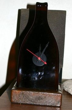 clock - slumped wine bottle drilled and clock parts added