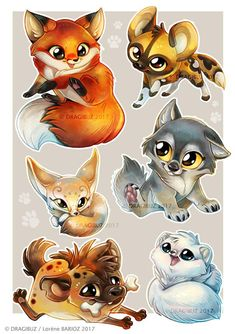 Canide sticker sheet by dragibuz art in 2019 animal drawings