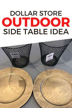 Check out this creative and cheap side table for your pool or backyard patio. This cheap table is made with dollar tree items and is quick and fun to put together. #hometalk Cheap Side Tables, Outdoor Side Table, Backyard Patio, Easy Projects, Craft Projects, Outdoor Projects, Dollar Tree Crafts, Garden Labels, Outside Room