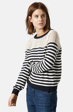 Topshop+Lace+Stripe+Sweater+available+at+#Nordstrom