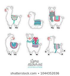Cute llama and alpaca sticker. Funny lama patches. Cartoon lama character vector illustration.