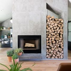 Season 4 Fixer Upper Episode 6 Chip & Joanna Gaines The Pick-a-door House Waco, TX Concrete Fireplace, Home Fireplace, Fireplace Surrounds, Fireplace Design, Modern Stone Fireplace, Fireplace Ideas, Fireplace Candles, Shiplap Fireplace, Fireplace Outdoor