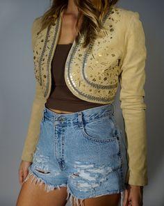 Vintage Leather Bolero Jacket XS S Mod Folk Beaded Embellished Desert Goddess Western Boho Cropped Coat Hippie Gypsy Crop Top 70s Festival