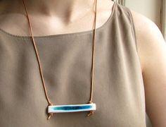 "clā contemporary:  porcelain and glass ""channel"" necklace"