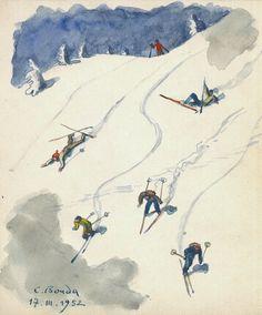 """Cyril Bouda: """"Skieurs"""". Aquarelle, 110 x 980 mm, 17-03-1952."""