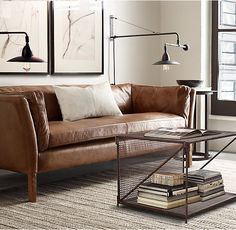 Restoration Hardware Tan Leather Sofa