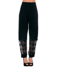 Look at this Black Floral Lace Pants - Women & Plus on #zulily today!
