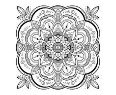 Printable Adult Coloring Book Page, PDF Mandala Coloring Book Page, Meditation Art Mandala Design, Instant Download, Digital Drawing