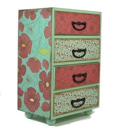 Extra large jewelry trinket box with poppies design 298