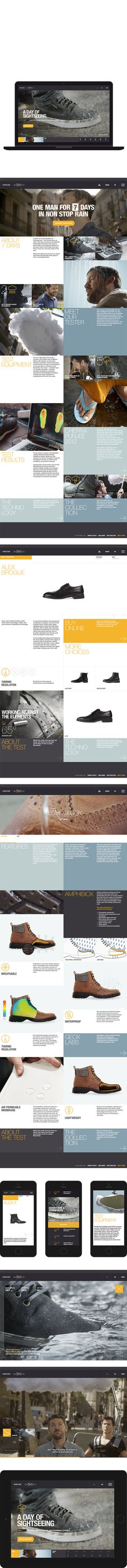 Geox 7 Days of Rain by Marius Roosendaal, via Behance Mobile Web Design, Web Ui Design, Tool Design, Design Ideas, Website Layout, Web Layout, Layout Design, Branding, Ui Web