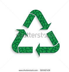 Recycle symbol with leaves. Vector graphic design - stock vector