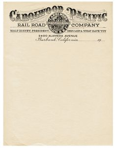 Vintage Carolwood Pacific Railroad letterhead (Walt Disney's private, miniature railroad)