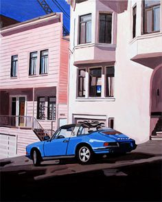 """New painting, """"Parallel Parking"""", 24"""" x 30"""" Acrylic on canvas. A San Francisco scene"""