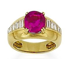 ruby and diamond ring, by Van Cleef & Arpels  The oval mixed-cut ruby, weighing 3.80 carats, to a tapering band set with baguette-cut diamonds, mounted in 18k yellow gold, with French control marks, signed Van Cleef & Arpels and numbered 134762