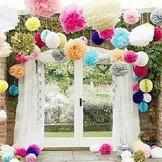 14 inch Paper Tissue Pom Flower Wedding Decorations - Set of 4 (More Colors) – USD $ 5.99