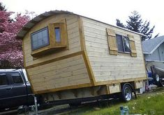 The Little Rustic Cabin on Wheels - Tiny House Blog  GREAT STRUCTURE, INDIVIDUAL DESIGNED AND BUILT. ONE I COULD FOR SURE LIVE IN WITH A FEW LADY CHANGES DECO WISE..WIAT TILLU SEE IT