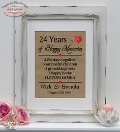 24th Wedding Anniversary 24 Years Married By Pepperandbluedesigns Gifts For Husband