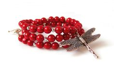 Dragonfly Red Coral Necklace Sterling Silver Red by MsBsDesigns, $116.00