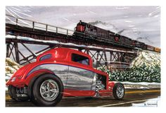 Hot Rods Christmas Cards - X-751 - One (1) Pack of 10 Cards & Envelopes #Christmas