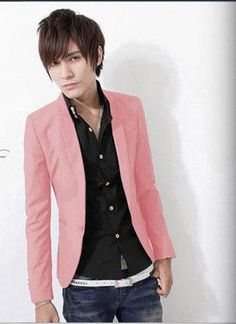 Spring and autumn male small suit jacket slim red male fashion black blazer casual suit single