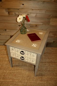 Burlap Inlaid End Table Done in Annie Sloan Coco and Old Ochre Chalk Paint with Fleur De Lis Stencil.