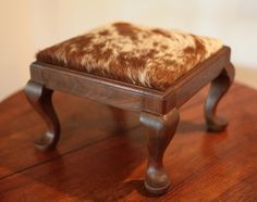 Restored Antique Vintage Walnut Queen Anne Cowhide Footstool Stool by TheCowPelt