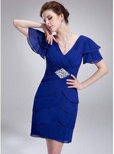 A-Line/Princess V-neck Knee-Length Chiffon Cocktail Dress With Beading Sequins Cascading Ruffles (016021248) - JJsHouse