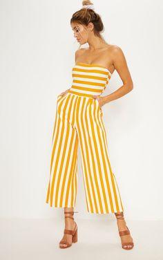 ee89e5ed5627 Mustard Contrast Stripe Bandeau Culotte Jumpsuit. Mustard Yellow OutfitBandeau  JumpsuitSummer ...