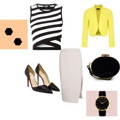 #classic #yellow #cropped #jacket #wrap #style #top #noir # pencil #skirt