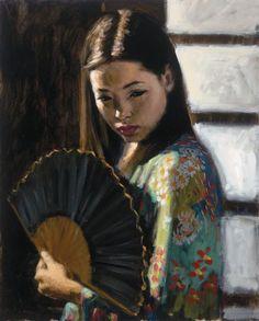 Fabian Perez (born 1967)  Woman with a Fan