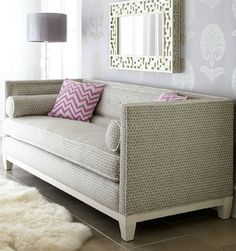 love the pattern on the sofa and mirror