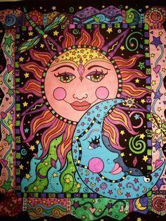 Diamond Painting Sun and Moon Pattern Abstract Flower Paint with Diamonds Art Crystal Craft Decor Sun Moon Stars, Sun And Stars, Art Soleil, Art Hippie, Sun Art, Abstract Flowers, Psychedelic Art, Abstract Pattern, Doodle Art