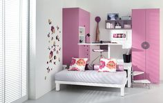 Teens Bedroom White Small Bedroom for Teenager: Yes Or No?: Stylish Minimalist Small Teen Bedroom With Slim Pink Wardrobe With China Classic Coin Accent On Handle Also Unusual White Desk Design