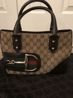 f431c3a664dc18 GUCCI Monogram Horsebit Hasler Leather Brown Canvas Tote 5647 Handbag MSRP  $1400