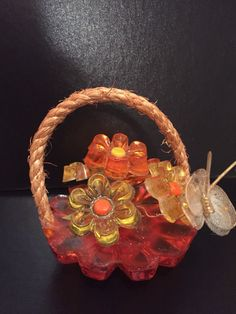 VINTAGE 1960-70'S DESIGN GIFTS LUCITE/ACRYLIC RETRO FLOWERS W/ BUTTERFLY BASKET Hippie Flowers, Retro Flowers, Basket, Butterfly, Gifts, Vintage, Color, Design, Presents