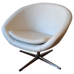 1960s Swivel Egg Chair in White Leather | From a unique collection of antique and modern swivel chairs at https://www.1stdibs.com/furniture/seating/swivel-chairs/