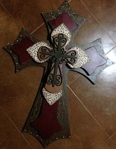 Extra Extra Large 28x36 Brown and red  Wood Cross
