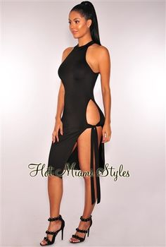 1121940e731 Black Cut Out Slit Mock Neck Dress