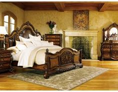 Lovely Tuscan bedroom set with Mediterranean colors for master bedroom decorating ideas, dark woods, tone-on-tone embellishments. Bedroom Sets, Dream Bedroom, Home Bedroom, Bedroom Furniture, Bedroom Decor, Master Bedroom, Large Furniture, Fairytale Bedroom, Tuscan Furniture